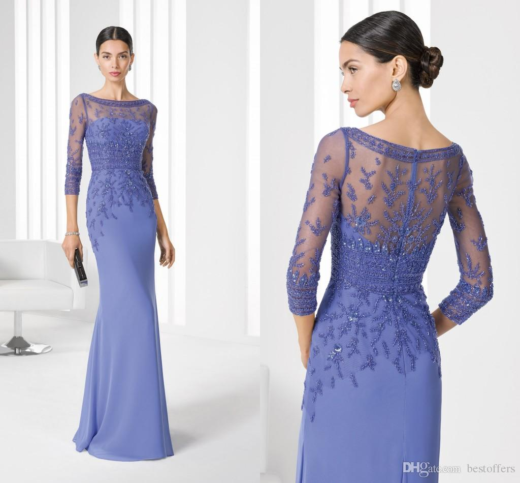 Evening dresses for the wedding 2017 new motheru0027s dress for ladies womens cheap 3/4 sleeves bateau mother  of JFHAHOC