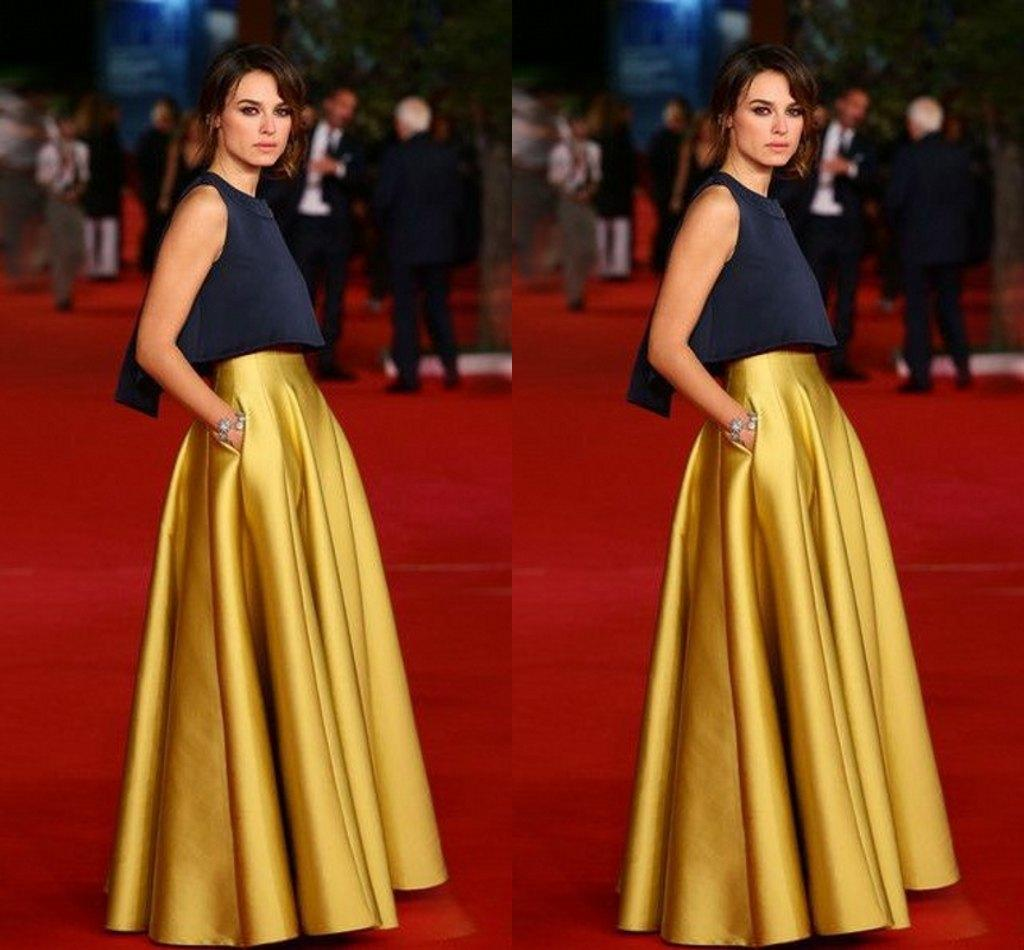 Evening Skirts 2018 high waist celebrity skirt for women floor length long skirt satin  gold SVEUDWO