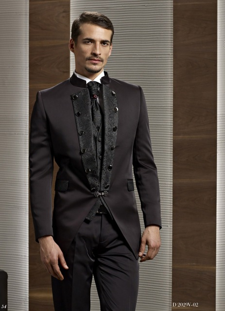 Evening Suits dark brown groom tuxedo groomsmen mandarin lapel wedding/dinner/evening  suits best man bridegroom NYZBVJV