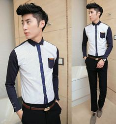 Fashion for Young 2014 hot sale dot print patchwork fashion shirt for young men cheap price APVYEFV