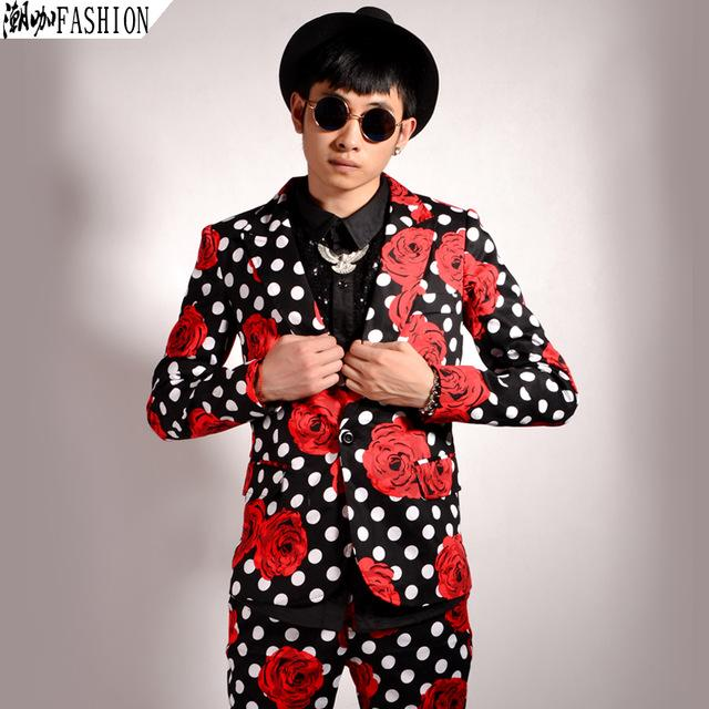 Fashion with floral pattern 2016 fashion floral suit mens flower blazer mens polka dot blazer party  dress PGDEMPU