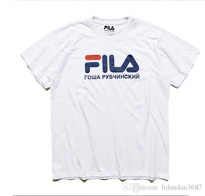 Fila Shirts 2017 summer brand clothing fila t shirt men women tops hip hop skateboard  short sleeves XDIEMFL