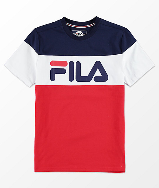 Fila T-shirts fila boys color blocked blue, white u0026 red t-shirt ... CHITZGE