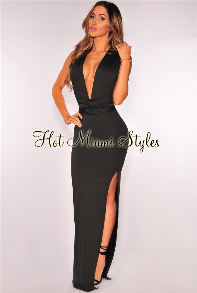 Fitted Dress black slit multi wear fitted maxi dress BNEYBVG