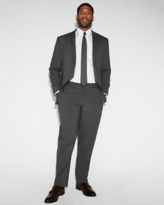 Fitted Suits express view · slim charcoal gray check stretch wool-blend suit pant LPNIHJO