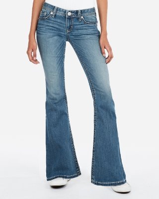 Flared jeans low rise thick stitch stretch bell flare jeans | express EJUZIJX