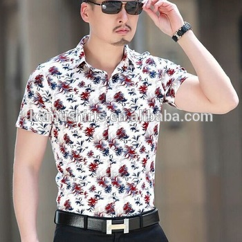 Floral Print Shirts bright colored short sleeve mens shirts low price shirt floral print shirt  for men YLHPQHE