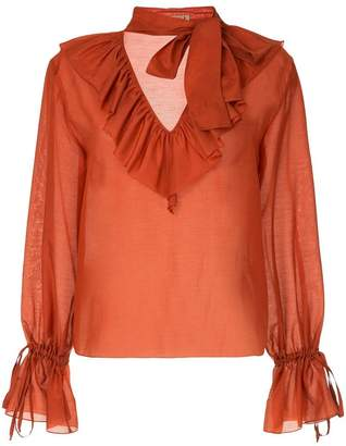 Flowing Blouses at farfetch · flow the label ruffled neck blouse SNRXESI