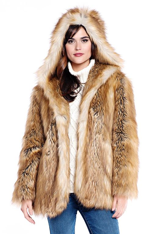 Fur Jackets for Women gold fox hooded faux fur jacket - 1 ... RWNBRJX