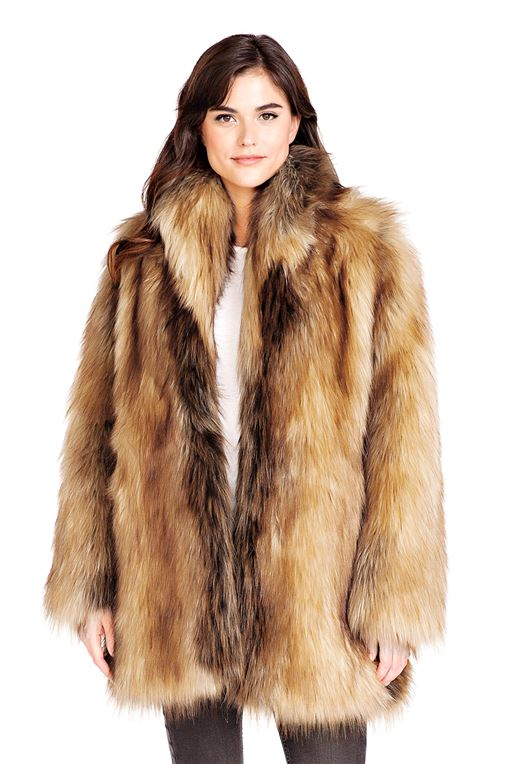 Fur Jackets for Women red fox shawl collar faux fur jacket DCCDVFF