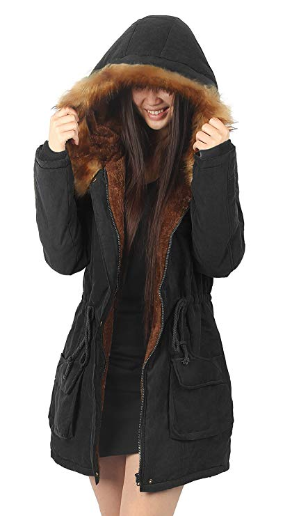 Fur Parkas amazon.com: ilovesia womens hooded warm coats parkas with faux fur jackets:  clothing GWFJJXM