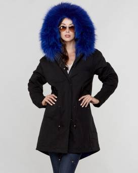 Fur Parkas colonel fur lined parka with raccoon fur trim in blue ... KYGMSLM