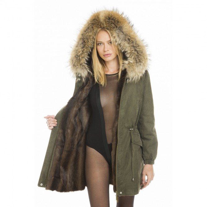 Fur Parkas real fur parka with a natural-colored lining ... IWRNRDA