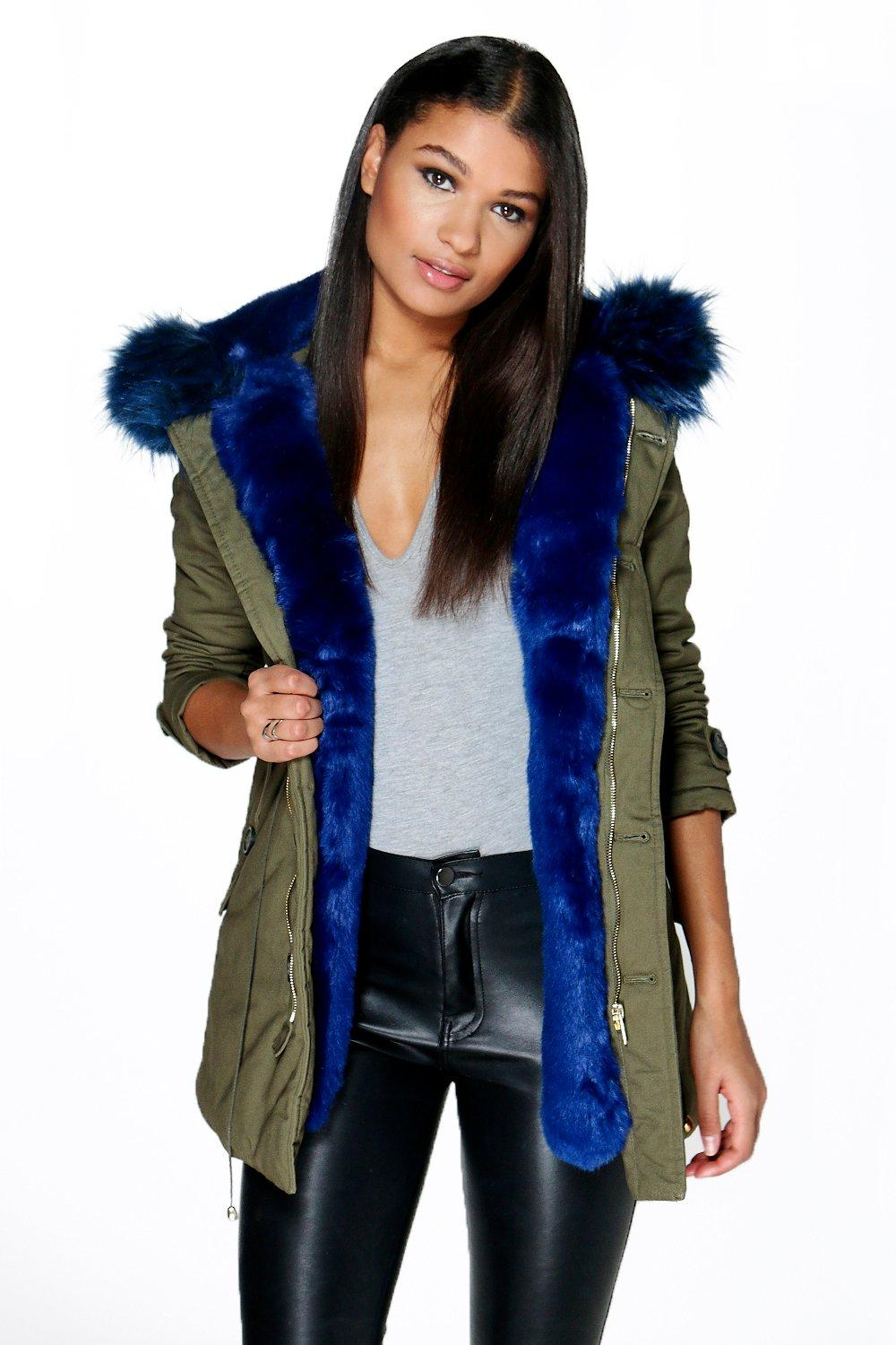 Fur trim parkas boutique maria faux fur trim parka ZLMYRCX