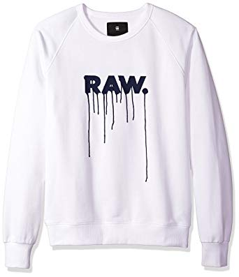 G-STAR RAW SWEATER g-star raw menu0027s daefon raglan roundneck sweater long sleeve, white, x- TGFOEJD