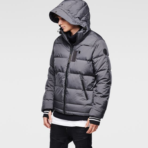 G-Star Winter Jackets whistler hooded down jacket | raven htr | g-star raw® HSIZUMN