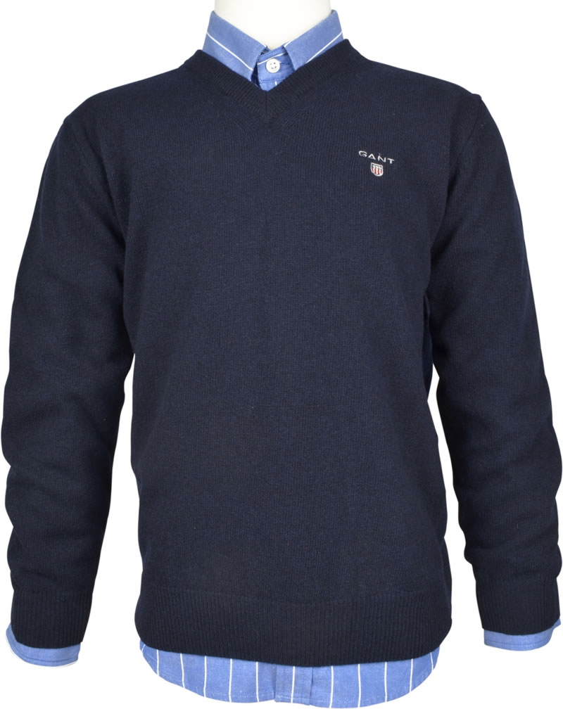 Gant pullovers classic fine knit pull-over with lambswool in navy blue by gant. the  premium QRYWOLG