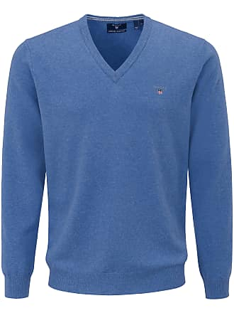 Gant pullovers gant v neck pullover in 100% new milled wool gant blue HYAACMT