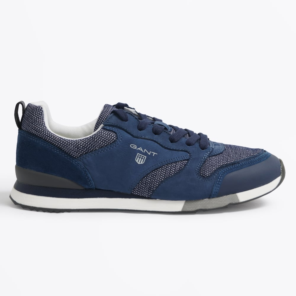 GANT SHOES russell canvas leather sneaker - navy | mens shoes online | gant RNJJEVS