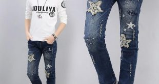 Girls Kids Jeans girl children jean pants leggings patchwork star ripped kids jeans spring  autumn kids ERSTTFD