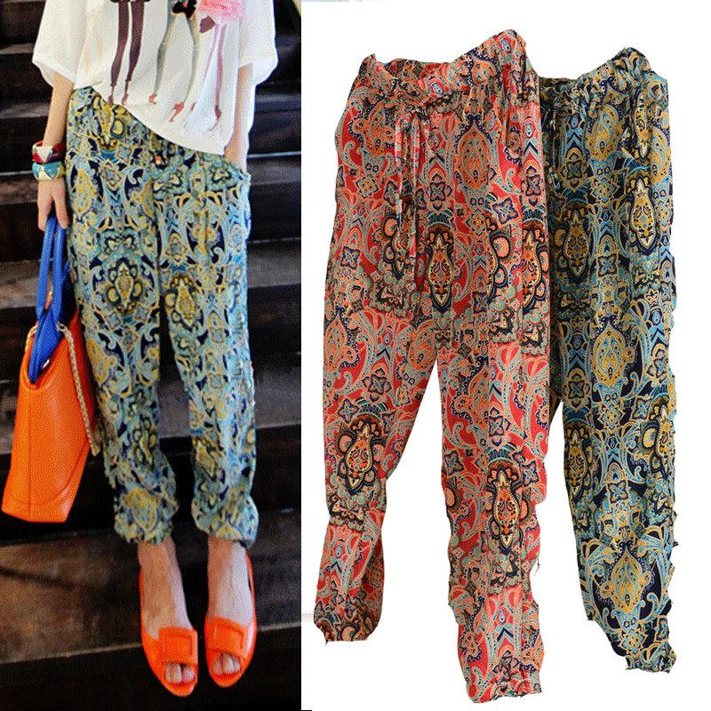 Harem pants for ladies online cheap women korean floral chiffon harem pants women ladies plus size  fashion flower printed FSMZOEZ