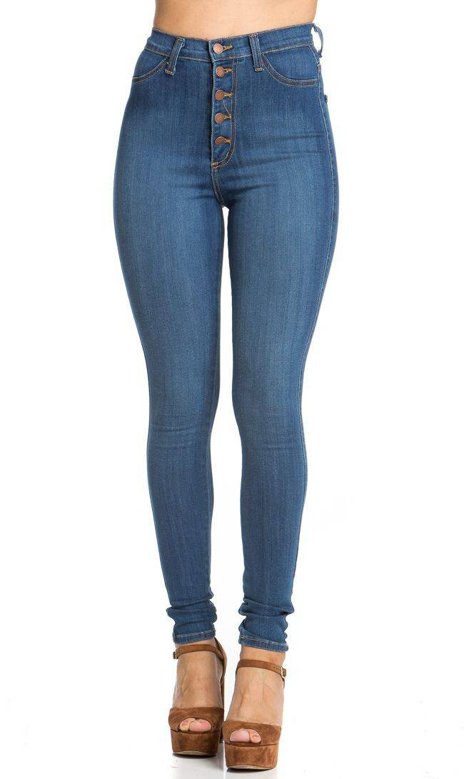 high waist jeans 5-button high waisted skinny jeans in blue RRELRYT