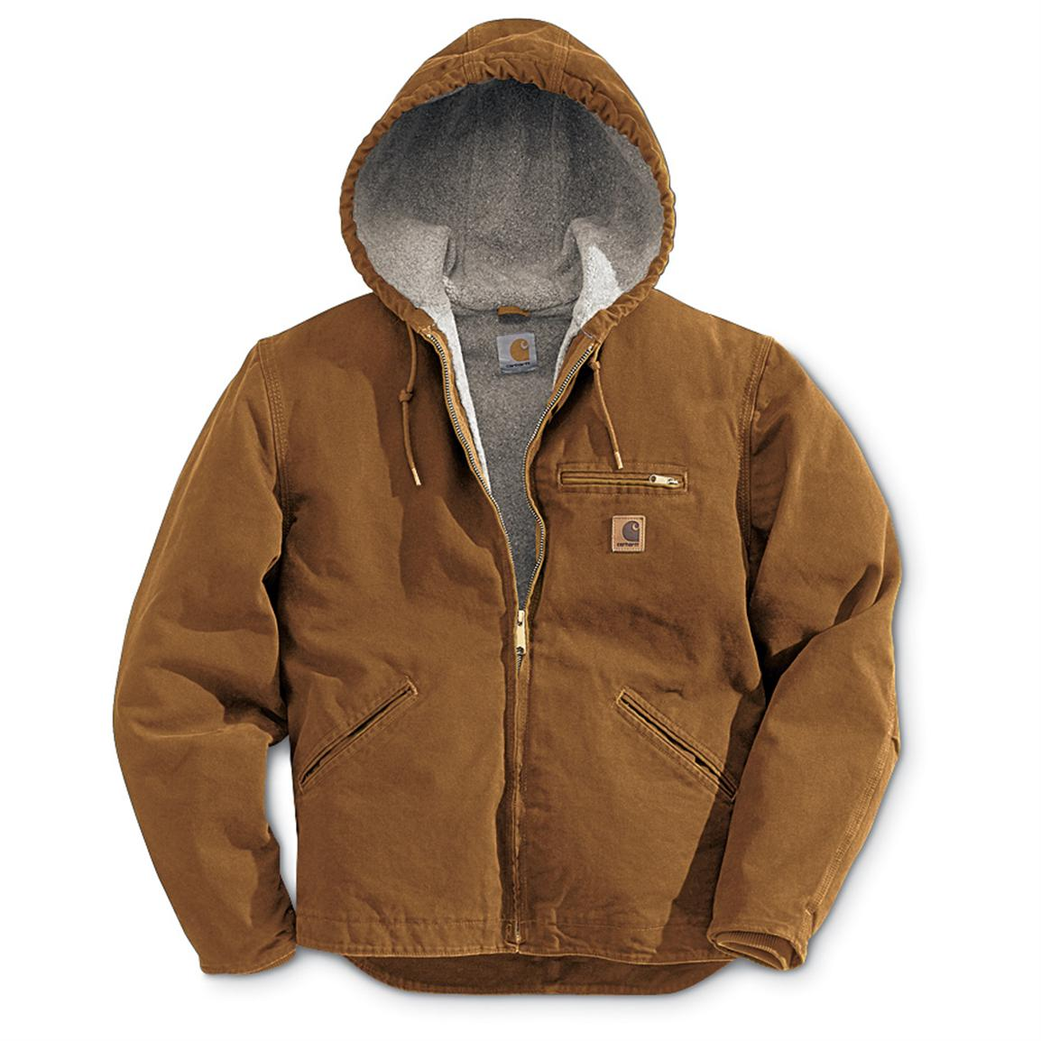 Hooded Jackets carhartt sandstone sierrra hooded workwear jacket, brown QEGUTAH