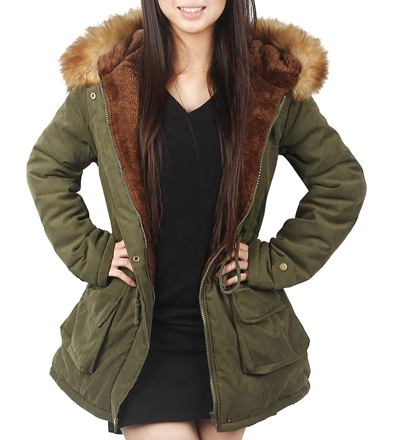 Hooded Parkas 4how womens parka jacket hooded winter coats faux fur outdoor coat at  amazon YEQCLIG
