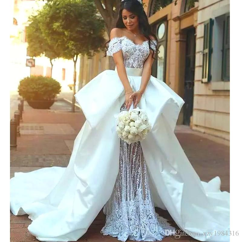 ITALIAN DRESSES romantic italian style wedding dress off shoulder beaded short sleeve lace  mermaid wedding gowns dubai EOQYVAL
