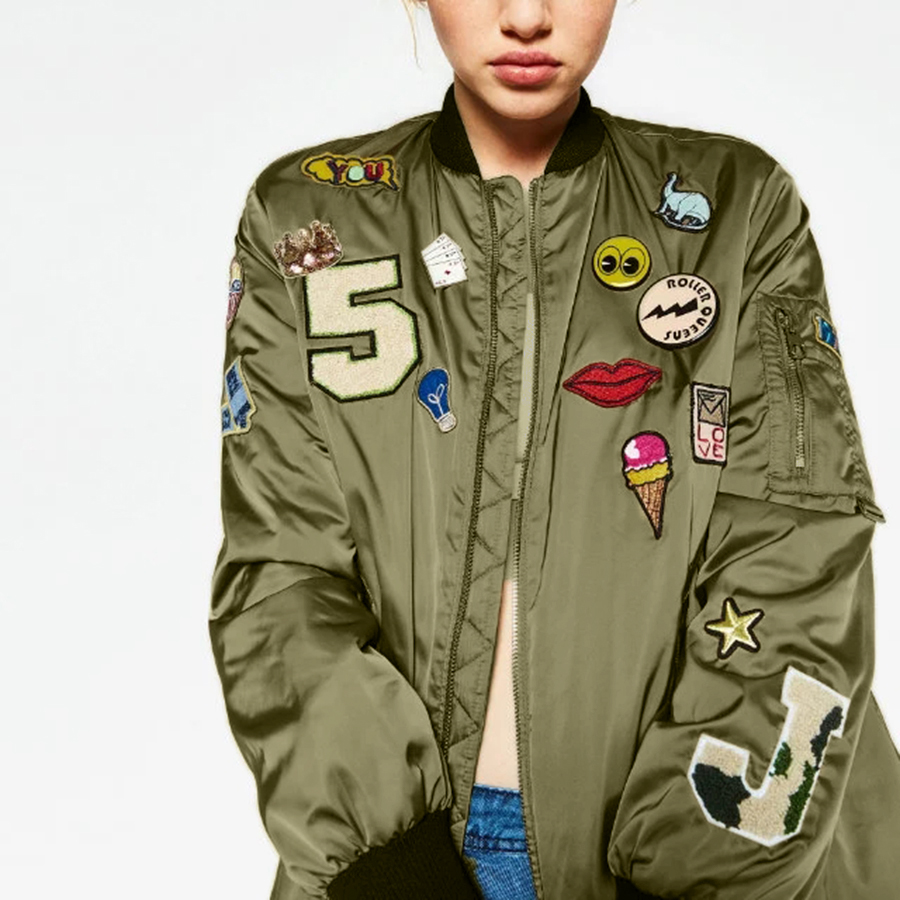 Jackets with Patches 2016 fashion army green embroidered womens bomber jackets down coat female  flight suit patches winter TZEDITZ