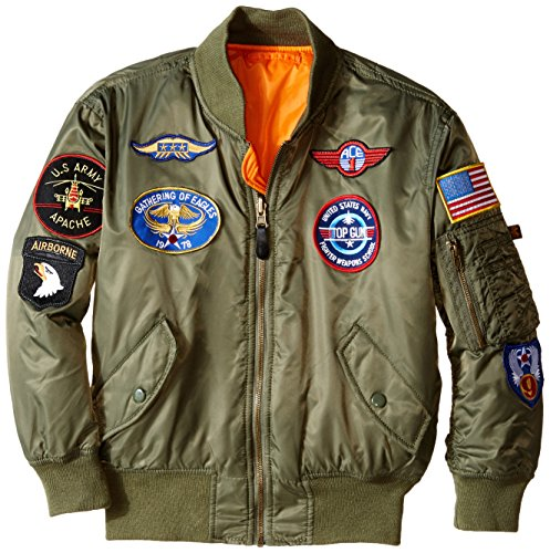 Jackets with Patches amazon.com: alpha industries big boysu0027 ma-1 bomber jacket with patches:  clothing OFNBMUY