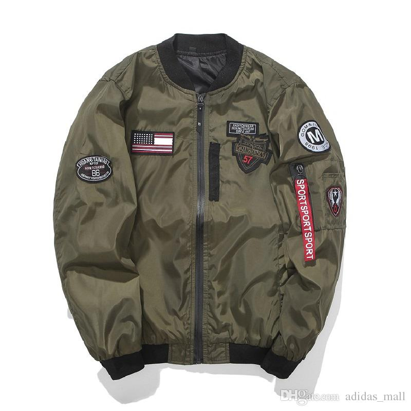 Jackets with Patches army green bomber jacket men with patches 2017 autumn mens flight jacket  patch slim fit VZDCKNE