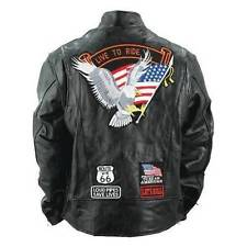 Jackets with Patches item 3 mens buffalo leather jacket biker motorcycle harley rider eagle usa  flag patches -mens CQEAWKA