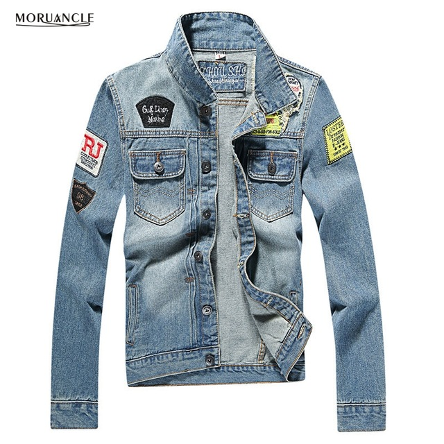 Jackets with Patches moruancle fashion menu0027s ripped denim jacket with patches slim fit  distressed jeans jackets for male BHMHEUD