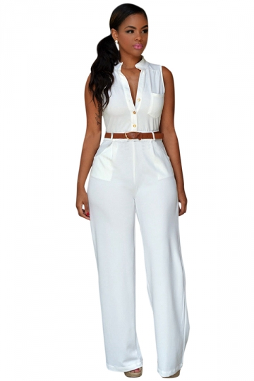 Jumpsuits for women elegant sleeveless belted wide leg white jumpsuits for women BWIDZZV