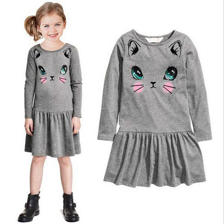 Kids Girls Clothing 2018 spring autumn style toddler girl clothing dress girl cartoon cat  cotton cute ZHJLUDQ