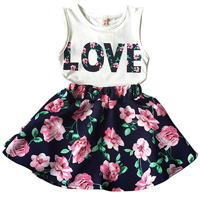 Kids Girls Clothing amazon.com: jastore girls letter love flower clothing sets top+short skirt kids  clothes: clothing MGSNQXI