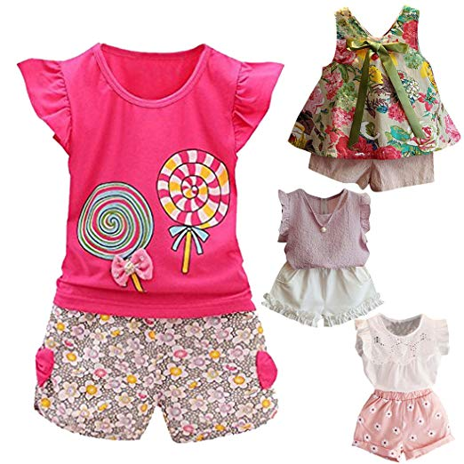 Kids Girls Clothing fabal 2pc baby girl clothes summer tee +short pants kids girls casual  outfits QGOFNAK
