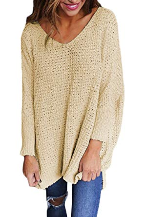 Knitted sweaters viottis womenu0027s loose v-neck long sleeve pullover knitted sweaters jumpers  tops at amazon BRKLBAQ