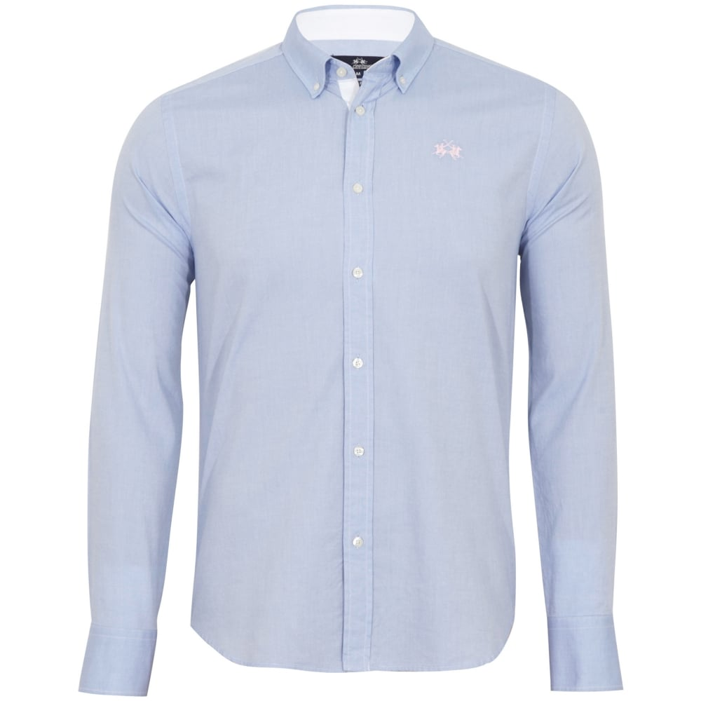 LA MARTINA SHIRTS la martina slim fit light blue oxford shirt CEAMTUK
