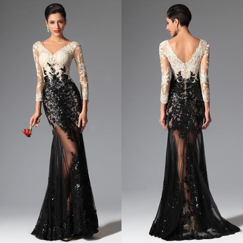 Lace evening dresses 2016 sexy sheer lace evening dresses black and white mermaid long sleeves  evening GUNXJVV