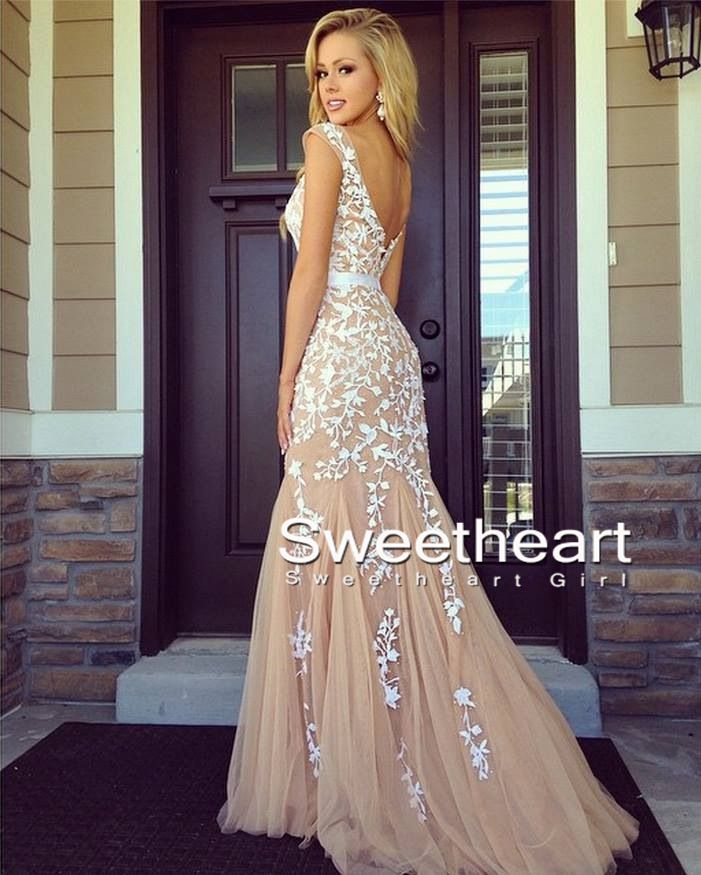 Lace evening dresses a-line backless lace prom dresses, lace evening dresses ODXSDFW