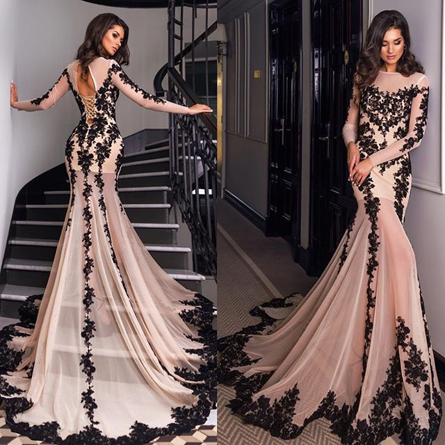 Lace evening dresses glamorous long sleeve black lace evening dress mermaid lace up back party  prom FEEQQLN