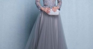 Lace evening dresses gray round neck lace tulle long prom dress, gray lace evening dress m1925 ATIMIJY
