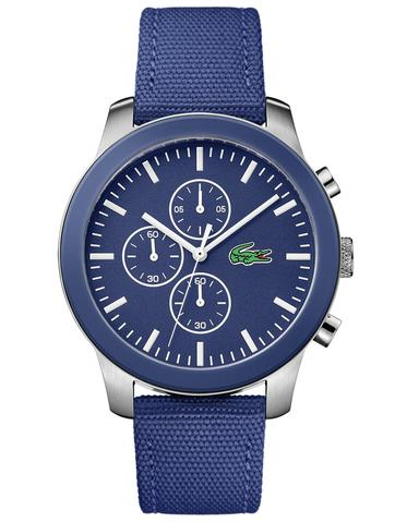 Lacoste watches for men lacoste 12.12 mens chronograph - stainless - blue dial - blue fabric u0026 SNLDWVB