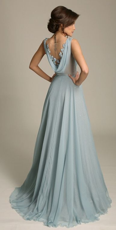 Long chiffon dresses elegant a-line sleeveless blue chiffon long prom dress with lace HOPEVMG