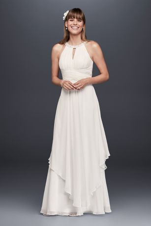 Long chiffon dresses long a-line beach wedding dress - db studio BYJWMNY