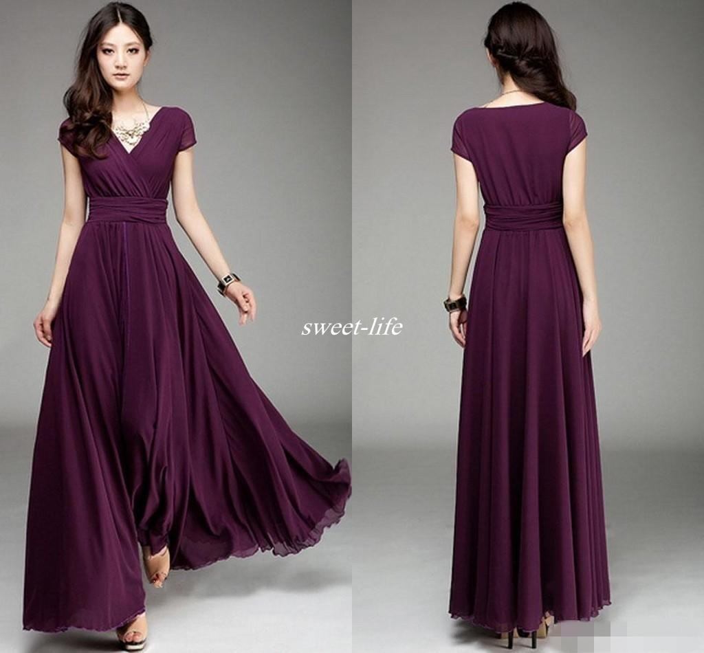 Long chiffon dresses plum v neck short sleeve long chiffon bridesmaid dresses ruffle elegant a  line QSLNTYU