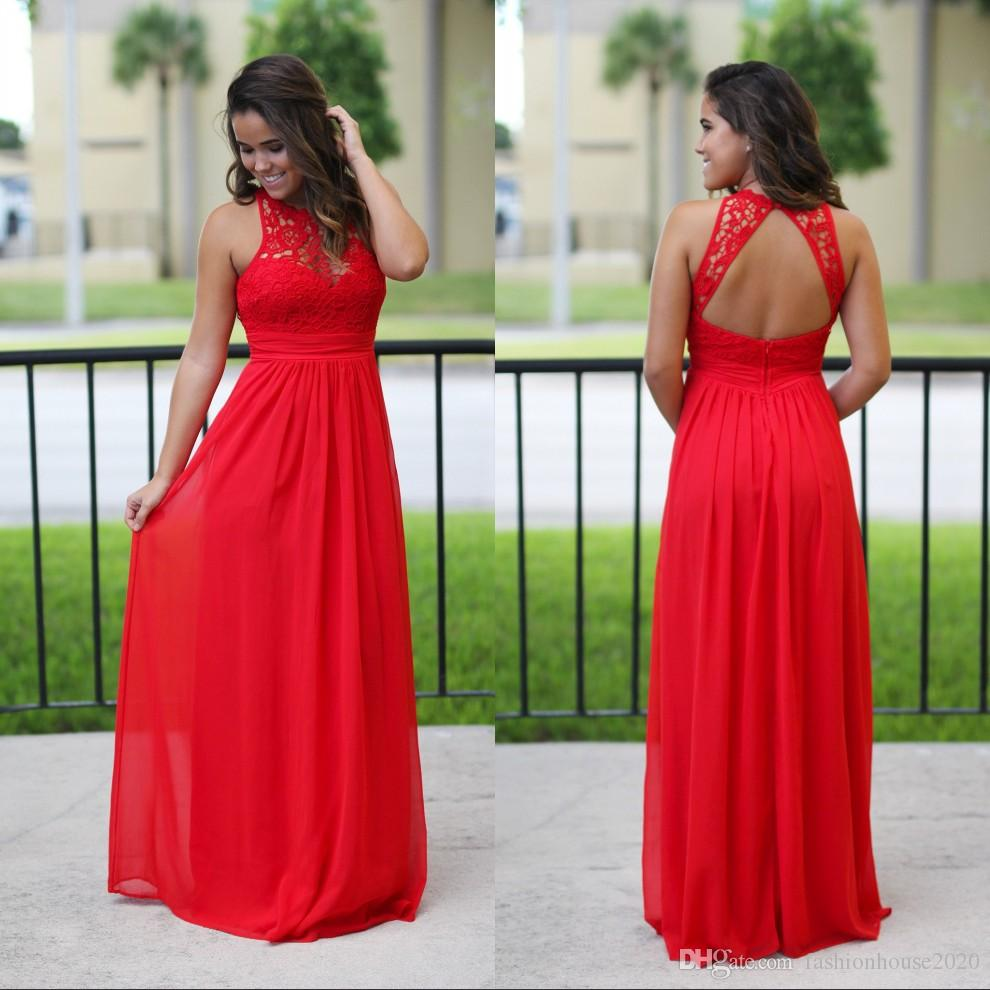Long chiffon dresses sexy long chiffon country bridesmaid dresses red lace bridesmaids dress  cheap beach sexy YAUATMJ