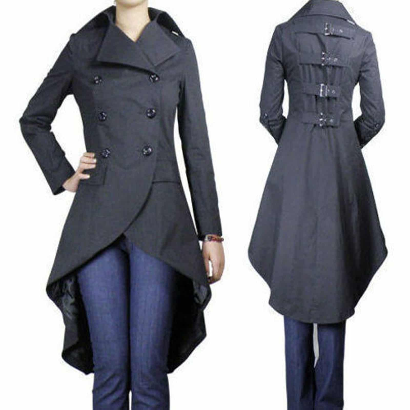 Long Jackets fishtail coat, long jackets for women, women gothic jackets, best jackets  for women HOSVAEJ